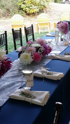 We see a lot of florals like these ones included in the country style weddings we've catered. Country Wedding Inspiration, Country Style Wedding, Country Wedding Dresses, Country Weddings, Rustic Wedding, Our Wedding, Wedding Ideas, Wedding Decorations, Table Decorations