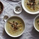 Herbed shitake and oyster mushroom soup - Amy Chaplin