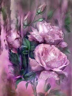 Raindrops on Pink roses Tender tears From above Shed for the beauty And wonder of love.  Raindrops On Pink Roses prose by Carol Cavalaris  This painting of romantic pink roses filled with raindrops, pays tribute to the beauty of roses and how they speak to the heart and to those we love. From the Language Of Flowers Collection of art by Carol Cavalaris, this is also available in shades of lavender, peach, yellow, and antique white roses.