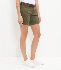 Khaki Belted Shorts  | New Look