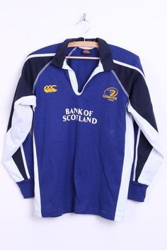 Canterbury of New Zealand Mens M/L Rugby Polo Shirt Navy Leinster Cotton - RetrospectClothes