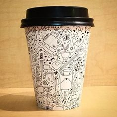 """Page Alice Springs that's right by the big Rock in Australia! Coffee Cup Drawing, Coffee Cup Art, Coffee Cup Design, Coffee To Go, Paper Cup Design, Starbucks Cup Art, Take Away Cup, Coffee Packaging, Box Packaging"