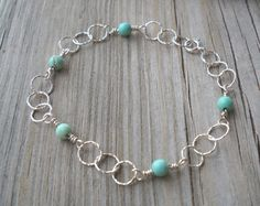 925 Sterling Silver Wire,Twisted Link Gemstone Bracelet,Anklet