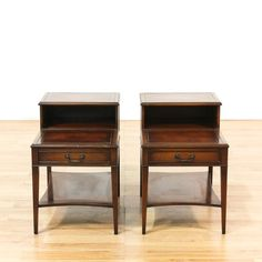 """Hekman"" Pair Of Mid Century Step Tables"