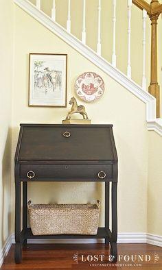 A two-tone painted antique secretary desk. Milk Paint Secretary Desk Makeover | http://www.lostandfounddecor.com/makeovers/milk-paint-secretary-desk-makeover/