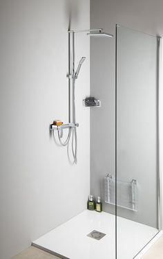 Sprchový sloup k napojení na baterii, pevná a ruční sprcha, hranatý, chrom : SAPHO E-shop Program