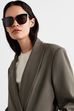 Le Specs - Caliente cat-eye acetate and gold-tone sunglasses Le Specs Sunglasses, Sunglasses Accessories, Toned Arms, Beauty News, Eye Shapes, Personal Shopping, Minimal Design, Fashion News, Eyes