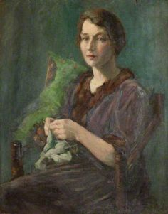 onbekend van wie( a woman knitting
