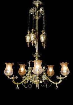 A 19th century gilt metal five-light gasolier chandelier.