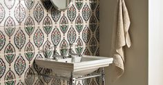 Turkish influences of Anatolia Lydia Wall Tiles with Battersea Cloakroom Basin and Washstand, Avebury Pillar Taps and Richmond Oval Mirror from Fired Earth