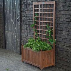 Wood Planter Box On Wheels With Grid-Style Trellis