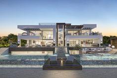 Luxury villa in La Cerquilla, Marbella, Malaga. This project has been designed by the architecture team at who's offices are in Dubai, Marbella and Madrid Design Villa Moderne, Modern Villa Design, Modern Bedroom Design, Luxury Modern Homes, Luxury Homes Dream Houses, Modern Mansion, Dream Homes, Villa Luxury, Big Modern Houses