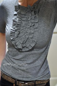 ruffled t-shirt tutorial. looks super cute layered with a cardi.
