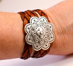 Large Silver Bracelet Flower Medallion Leather Wrap by amyfine