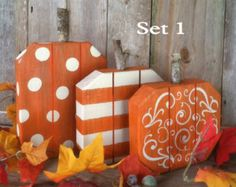 Rustic Wood Pumpkins. Great pumpkin set to use year after year to decorate your home, front porch or yard for autumn, Thanksgiving or Halloween. Large - 18 x 12 Med - 16 x 10Each Sm - 14 x 8 NOTE: This 3pc set is for 1 Large, 1 Medium & 1 Small. To choose the color you want for the LARGE & MEDIUM: click the Select An Option tab and pick the color you want for each size. For the SMALL: when you check out, put the color in the comments section. Made from reclaimed wood and pallet wood...