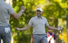 Garcia enjoyed that huge putt on the 12th  Read more: http://www.dailymail.co.uk/sport/golf/article-3816458/Ryder-Cup-2016-LIVE-standings-team-scores-golf-results-Team-USA-vs-Team-Europe.html#ixzz4Lwb7e5SJ  Follow us: @MailOnline on Twitter | DailyMail on Facebook