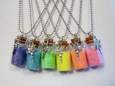 """Fairy Dust NECKLACE Miniature Glass Bottle w DoubleSided Fairy Charm on 26"""" Ball Chain / Pink Orange Yellow Green Blue Purple / (pick COLOR)..."""