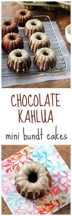 Chocolate Kahlua Mini Bundt Cakes via Kahlua Cake, Mini Desserts, Polish Desserts, Plated Desserts, Cupcake Recipes, Cupcake Cakes, Mini Bunt Cake Recipes, Chocolate Bundt Cake, Snacks