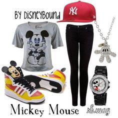 Mickey..i want to do this..red fitted, white shirt though, and black skinnys..eeekk and the necklace