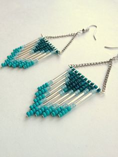 Hand Beaded Teal and Turquoise Chevron Earrings