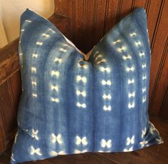19x19 Authentic Indigo African Mud Cloth Pillow Cover
