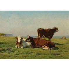 Juliette Peyrol-Bonheur , French 1830-1891 Cows Grazing by the Sea   Juliette is the sister of Rosa Bonheur