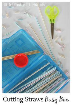 Cutting Straws Scissor Skills Busy Box