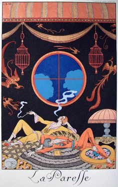 "Illustration by George Barbier (1882-1932), La Paresse, ""Falbalas & fanfreluches"", Charles Rahn Fry Pochoir Collection."