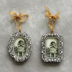 Jeweled Vintage-style Mini Photo Frame Ornaments Christmas Any time of Year NEW