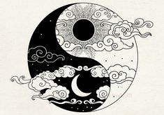 Ying Und Yang Tattoo, Yin Yang Tattoos, Sun Tattoos, Dragon Yin Yang Tattoo, Moon Sun Tattoo, Anime Tattoos, Sun Moon, Arte Yin Yang, Ying Y Yang