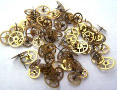 Steampunk Watch Parts  75 small vintage brass watch by AllGearedUp, $14.99