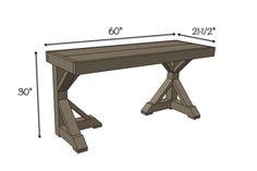 Trestle Desk   Free Plans   Dimensions