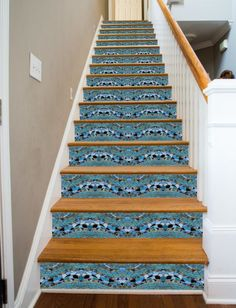 A collection of beautiful glass mosaic tiles in a wave pattern At last, a way to make your stairways beautiful! RiserArt presents these specially designed art creations perfect for making your stairwa