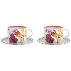 Missoni Home Flowers - Teacup & Saucer - Set of 2 ($127) ❤ liked on Polyvore featuring home, kitchen & dining, drinkware, multi, porcelain tea cups, colorful tea cups, tea cups and saucers, colorful tea cups and saucers and porcelain tea cups and saucers