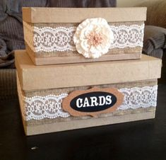 Wedding boxes, rustic card box wedding, country wedding gifts, rustic c Rustic Card Box Wedding, Country Wedding Gifts, Money Box Wedding, Wedding Gift Boxes, Wedding Cards, Wedding Ideas, Diy Card Box, Wooden Card Box, Gift Card Boxes