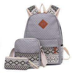 AEQUEEN 3 PCS/Set Women Backpack Canvas Printing School Bags For Teenagers Girls Laptop Backpacks Cute Rucksack School Bags