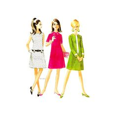 60s Mod A Line Dress Sewing Pattern McCalls 8680 by VirtualVintage
