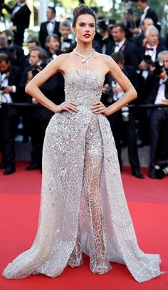 Alessandra Ambrosio in a Zuhair Murad Couture gown with built-in boots - click through to see more models at Cannes