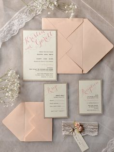 Rustic pink and lace wedding invitations from @4LOVEPolkaDots