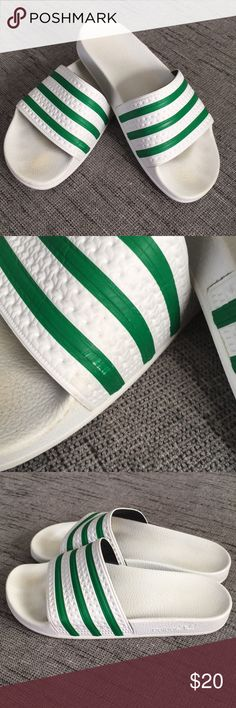 582b8da910756c Adidas Adilette white and green slides Adidas slides in green and white. Men s  7 women s 9 adidas Shoes Sandals