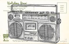 Original Drawing - Boombox on Post Card - by Mr. Hooper of Nashville by mrhooper on Etsy