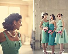 Love the color palette, but that all the dresses are unique, and still have a vintage look. Blue-Bridesmaids-Dresses-4