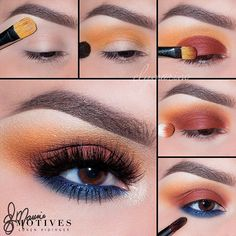 "Get this gorgeous summer☀️sunset #eotd by @elymarino using all #MotivesCosmetics! STEPS: 1. Begin by applying ""Timeless"" onto the brow bone 2. Taking ""Venus"" shadow (Dynasty Palette) blend slightly above the crease 3. Using ""Hot Hot Hot"" shadow pat onto the lid 4. Taking a fluffy brush and ""Hot Hot Hot"" shadow with ""Boudoir"" blend in the crease until you have a smooth transition between colors 5. Line the lower water line with ""Regal Blue"" khol eyeliner! Then using ""Aphrodite"" (Dynasty…"