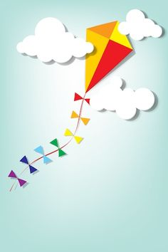 colorful kite up in the clouds vector art illustration Diy And Crafts, Crafts For Kids, Paper Crafts, Kite Decoration, Kites Craft, School Murals, Baby Boy Photography, World Crafts, Flower Crafts