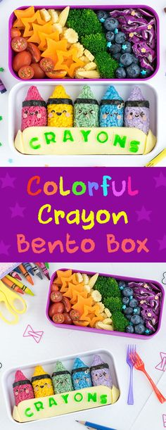 Colorful Crayon Bento Box - This super cute & colorful back-to-school bento is sure to score an A+ with students of all ages! Made from naturally dyed rice and shaped using a rice mold, even a bento beginner can easily recreate this vibrant school-themed lunch! Find out how at: loveatfirstbento.com