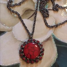 """Vintage necklace Purchased in Juarez Mexico in the middle 80's. Looks like red agate & silver. No markings anywhere on piece. It is 13"""" long. Jewelry Necklaces"""