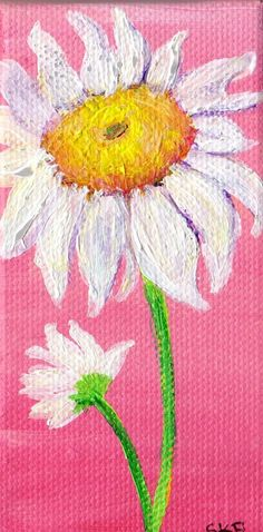 Shasta Daisy Painting on Mini Canvas with Easel by SharonFosterArt