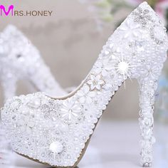 92.39$  Buy here - http://ali7os.worldwells.pw/go.php?t=1728832783 - White Pearl Crystal Bridal Wedding Heels Debutante Ball Party Shoes High-heeled Rhinestone Platform Amazing Prom Pumps 92.39$