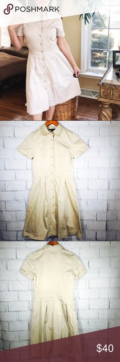 """""""346"""" BROOKS BROTHERS SAFARI BUTTON DOWN DRESS In excellent condition simple and stylish """"346"""" BROOKS BROTHERS SAFARI DRESS I used this just for few hours and has been in my closet.Looks and feels brand new. -Condition: Used item. Inspected for quality-no rips,holes or stains Size:4 Measurements: Chest: 17""""       flat across Length:37"""" Waist:14 1/2"""" Shoulder Length:4 1/2"""" MSRP$95      +tax Bundle up and save!No Trades please Reasonable offers are welcome. *Christian J. -Posh Ambassador;Posh…"""