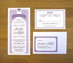 Wine Bottlle // wedding invitation // sample only by twoforjoypaper on Etsy